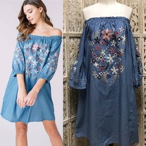Embroidered Off the Shoulder Chambray Dress
